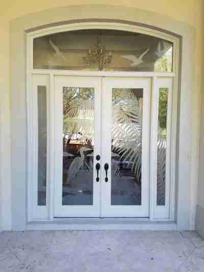 white glass double door