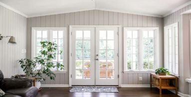 front door room with white window panes