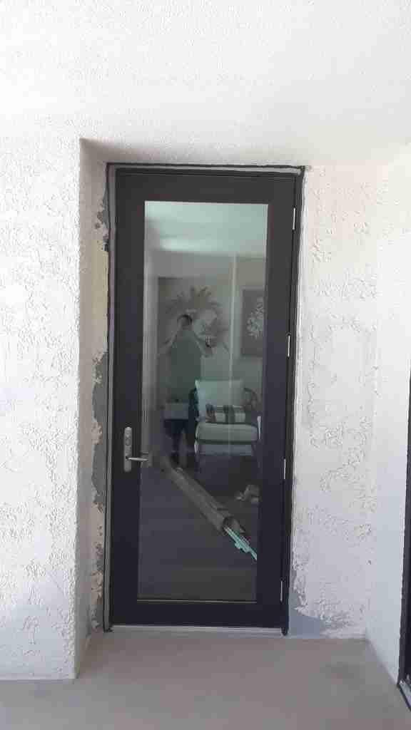 Steel Replacement Door with glass installation